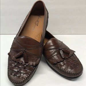French Shriner Men's 11M Brown Slip-on Loafers